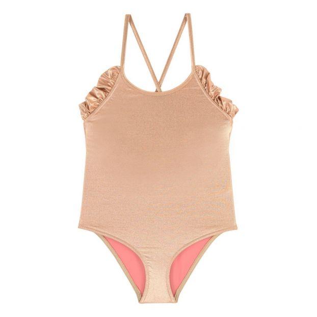 9b59cf79a8 Ruffled Back 1 Piece Swimsuit Pink Gold Lison Paris Fashion Teen