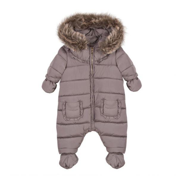 8af919f638d3 Faux-fur Hooded Snowsuit Taupe brown Tartine et Chocolat Fashion