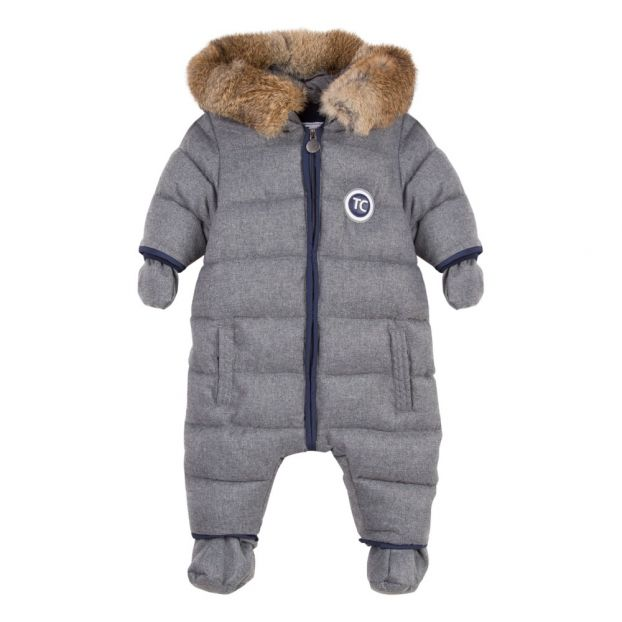 8534b58c2 Faux Fur Flannel Snowsuit Heather grey Tartine et Chocolat