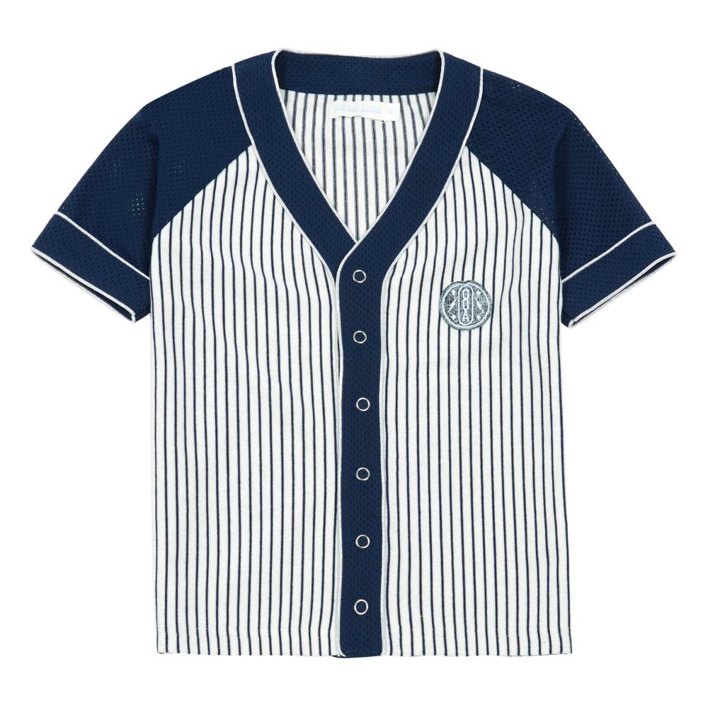 855c8685517f3 Camiseta Baseball Jersey rayas Carter Azul Marino Oaks of acorn. «