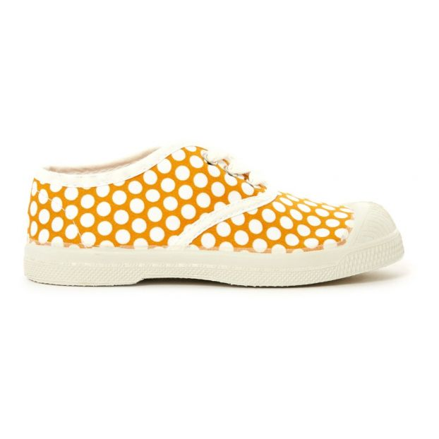 8395272701f8 White Dot Lace Up Tennis Shoes Yellow Bensimon Shoes Children