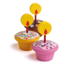 product-Erzi Muffin in legno con le candeline - Set da 9