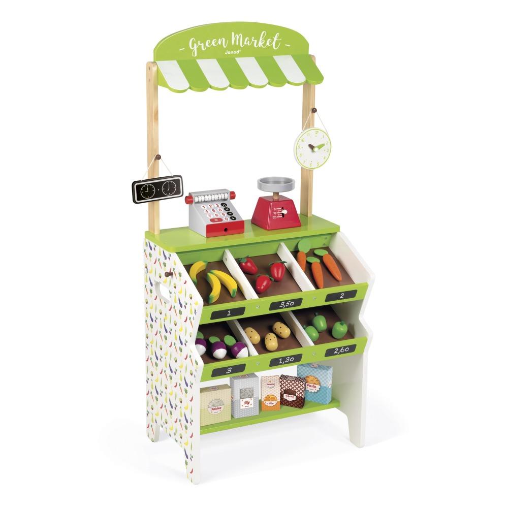 Janod - Epicerie Green Market en bois avec 32 accessoires - Multicolore