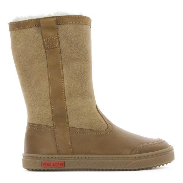 a0b1ffaeee8 Back Fur Linen Boots Camel