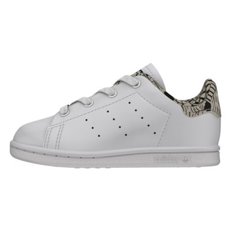 Adidas. Baskets Lacets Cuir Détail Zèbre Stan Smith Blanc