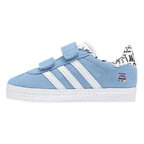 Adidas. Baskets Scratchs Suède Ecritures Gazelle Bleu ciel