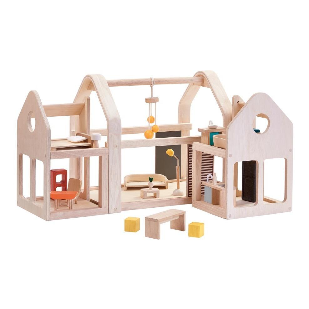 Modular 3 Blocks Wooden House Plan Toys