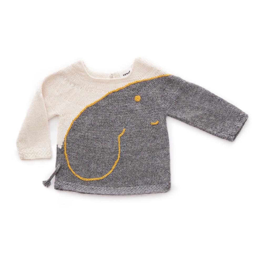 ed2ab7050980 Baby Alpaca Wool Elephant Jumper Grey Oeuf NYC Fashion Baby