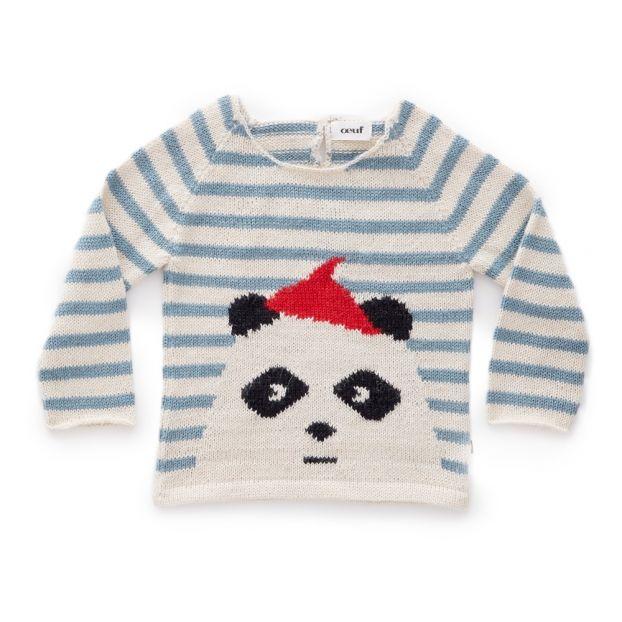 e38f9b450 Baby Alpaca Wool Panda Striped Jumper White Oeuf NYC Fashion Baby