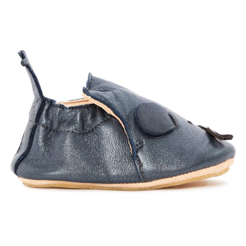 eaabe72254ccfe Blublu Iridiscent Leather Slippers Charcoal grey Easy Peasy Shoes. «