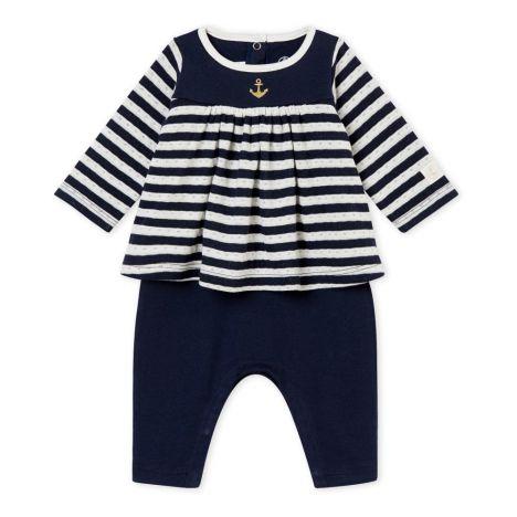 0607dca75037 Taira Romper Dress Navy blue Petit Bateau Fashion Baby