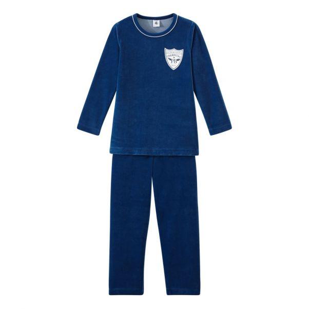 157a07a2c Pijama Terciopelo Tortis Azul Rey Petit Bateau Moda Infantil