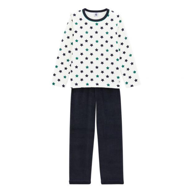 e83731c635cb3 Pyjama Velours Tory Bleu marine Petit Bateau Mode Enfant