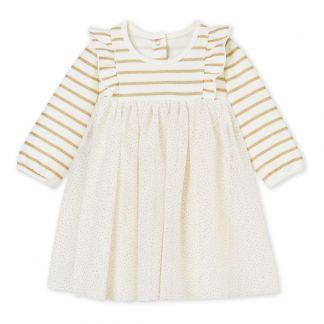 7681a4b00975 Vestito Prendisole Righe Blu Bonnet à pompon Moda Bebè