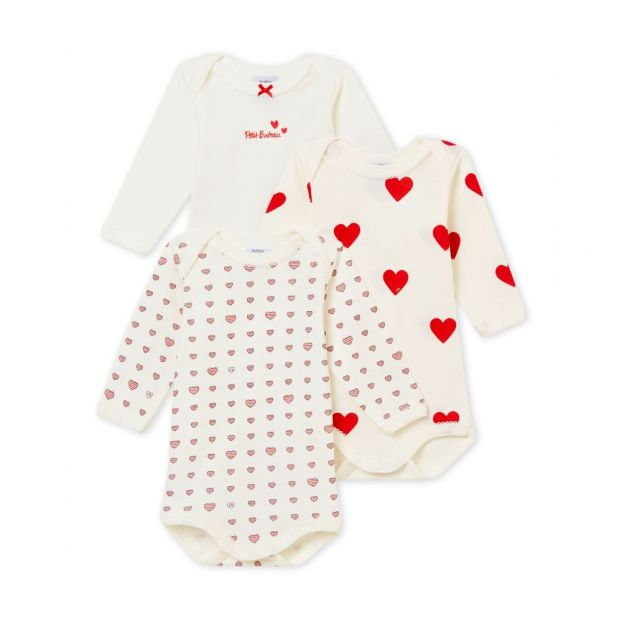 Lot of 3 Heart Bodies Red Petit Bateau Fashion Baby 304aab992f6
