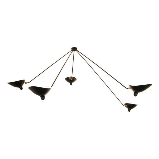 lamparas de techo araña Lmpara De Techo Araa 5 Brazos Fijos 1953 Negro