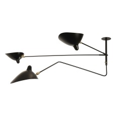 product-Editions Serge Mouille Suspension 2 bras fixes, 1 bras courbe pivotant, 1956