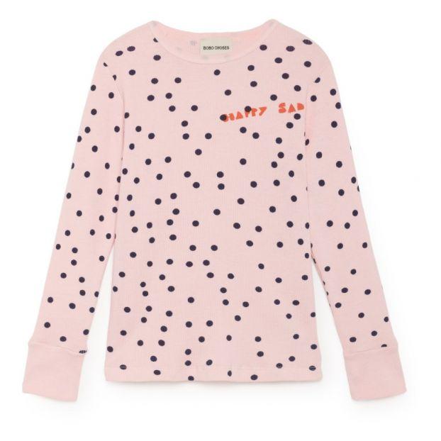 26db14512 Camiseta Abotonada Algodón Biológico Lunares Rosa Palo