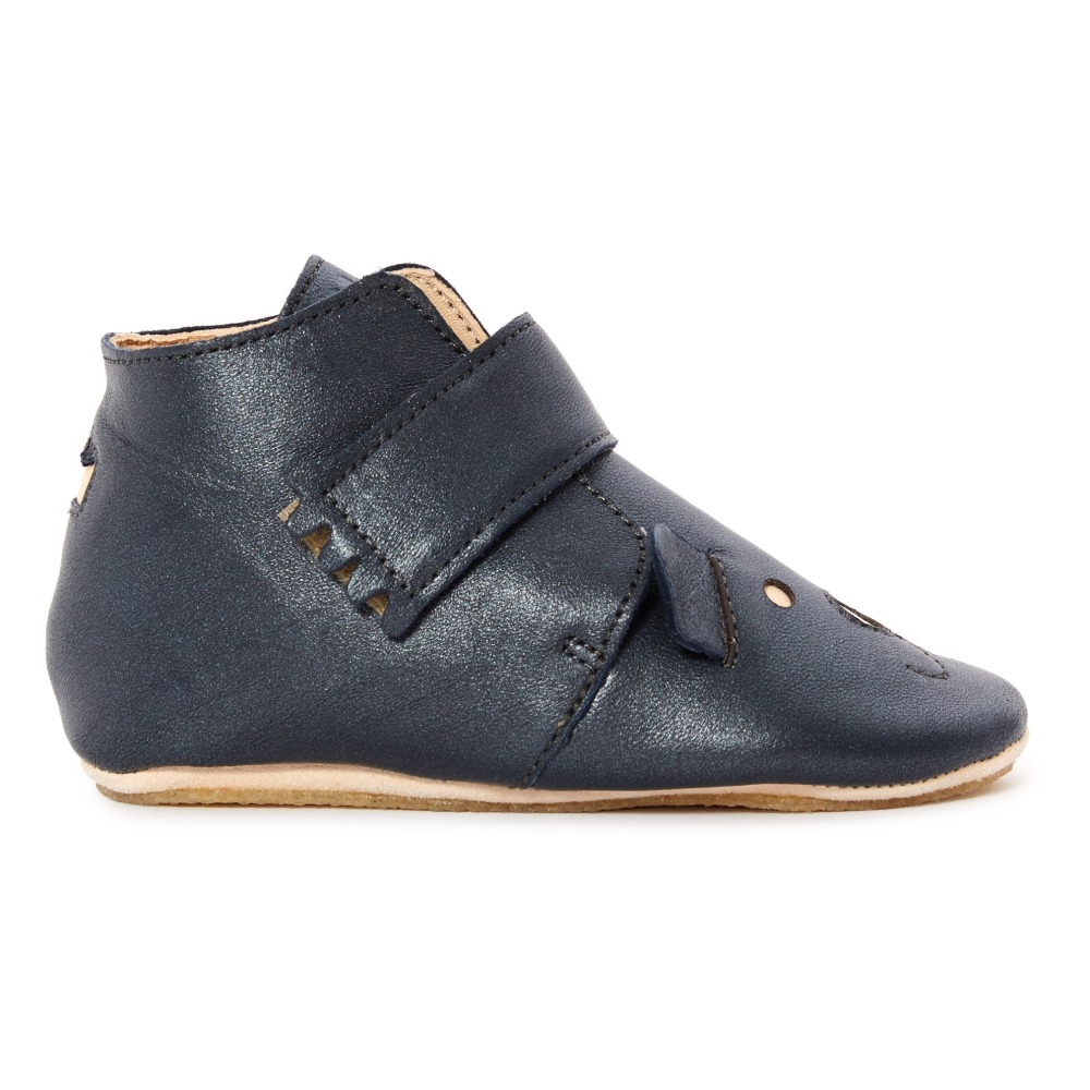 255141b6415044 Kiny Leather Slippers Navy blue Easy Peasy Shoes Baby