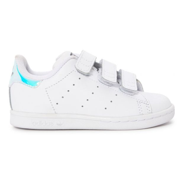 new styles 7605c 579b5 Stan Smith Schuh aus Leder mit Klettverschluss Silber