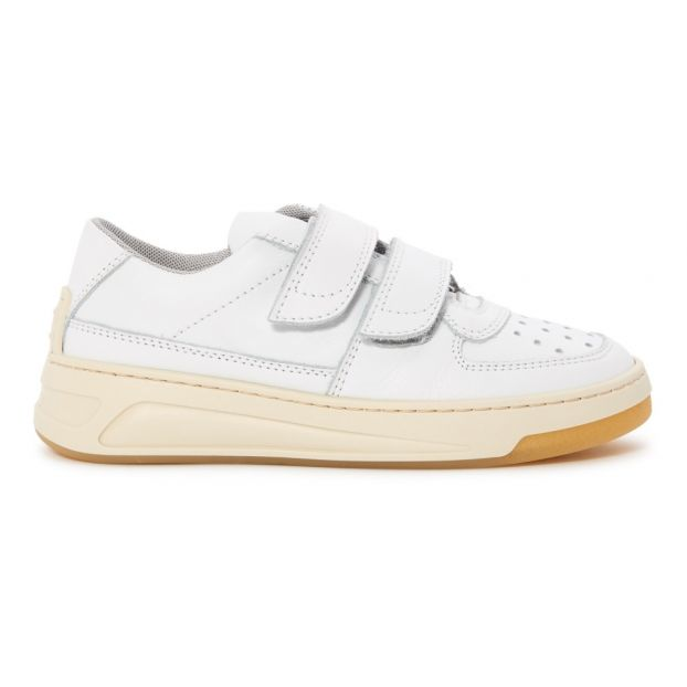 Leather Velcro Trainers White Acne