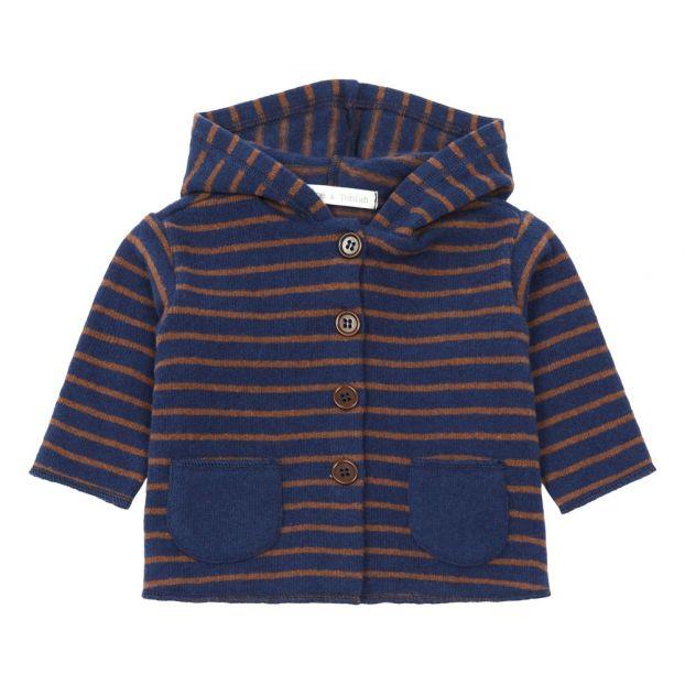 ebaba03f1e Cardigan a maglia a righe Cappuccio Blu marino