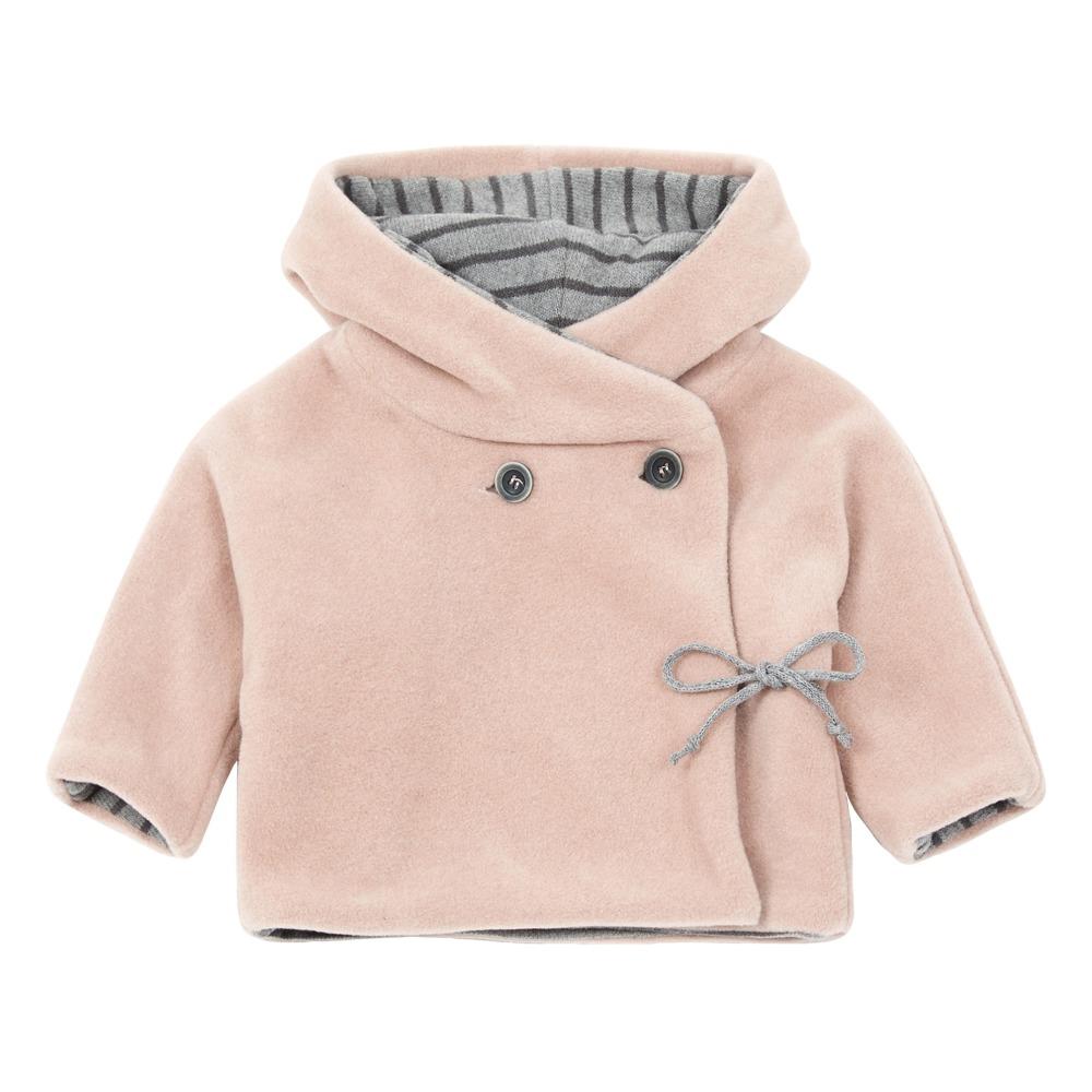 308ac771aa26d Fleece Hooded Wrap Coat Powder pink Zhoe   Tobiah Fashion Baby
