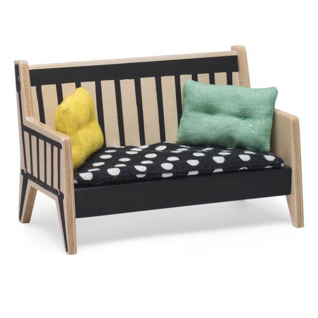 Cojines De Casa.Sofa Y Cojines Para Casa De Munecas Negro