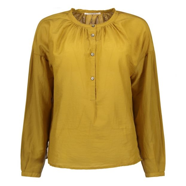 8c9b83f1bb3a65 Cotton and Silk Blouse Mustard Pomandère Fashion Adult