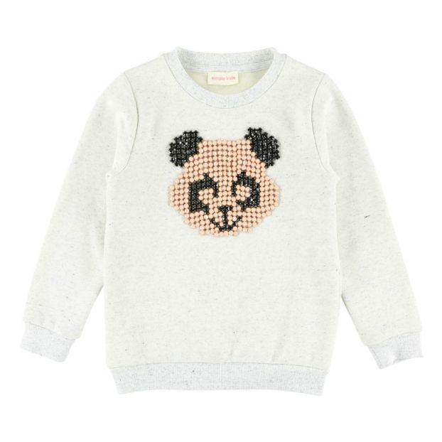 1a42cf2ef0b6f Panda Sweatshirt Light eather grey Simple Kids Fashion Children