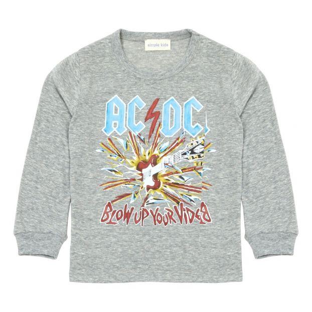 2784c272ec98d T-Shirt ACDC Gris chiné Simple Kids Mode Adolescent