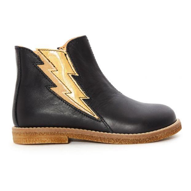 309b58f708e30 Boots Eclairs Cuir Noir Ocra Chaussure Bébé