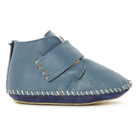 8533c210898589 Choblu Leather Linen Slippers Denim Easy Peasy Shoes Baby