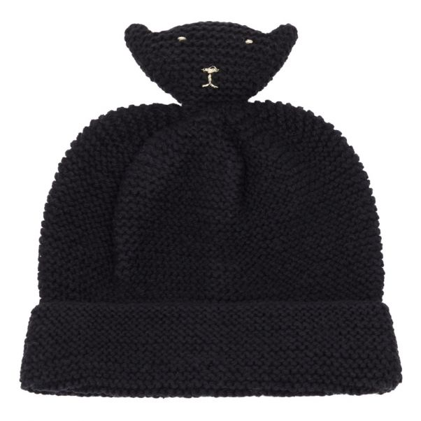 e114c55ba76 Hand Knitted Merino Wool and Cotton Beanie Black Emile et Ida