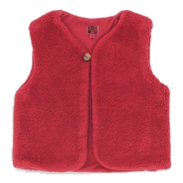 af0e619e8 Beti Faux Fur Waistcoat Raspberry red Bonton Fashion Baby