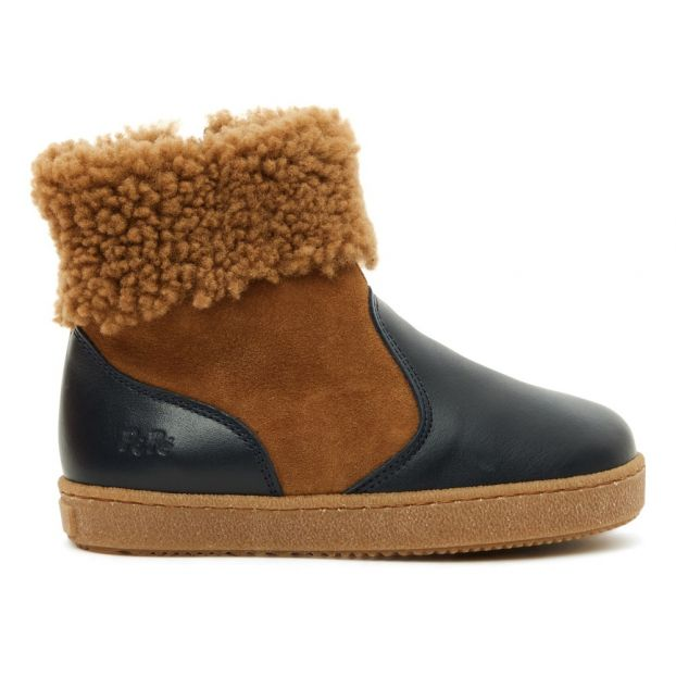 79d461a23fb Two-fabric Fur Lined Boots Navy blue