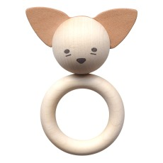 product-garbo&friends Fox Wood and Natural Leather Teething Ring
