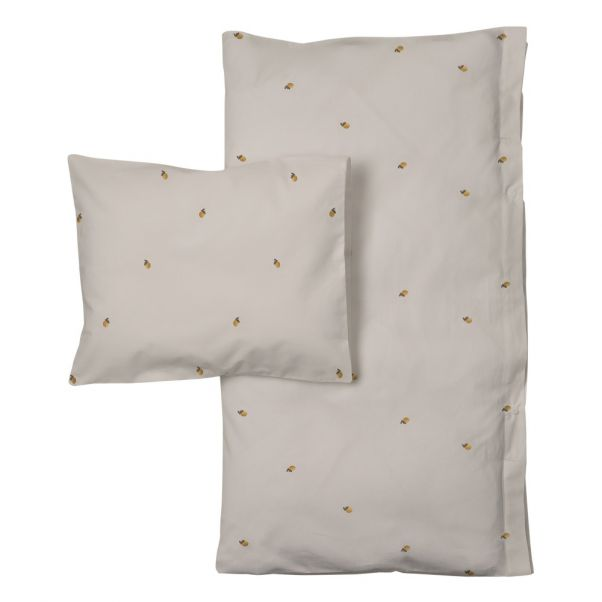 Lemon Embroidered Cotton Percale Bedding Set Light Grey