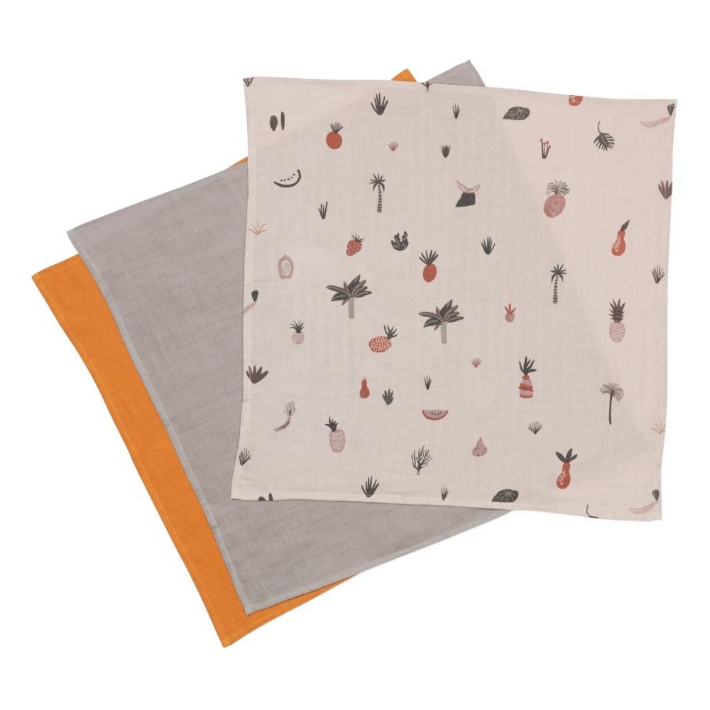 Langes en coton bio Fruiticana - Set de 3