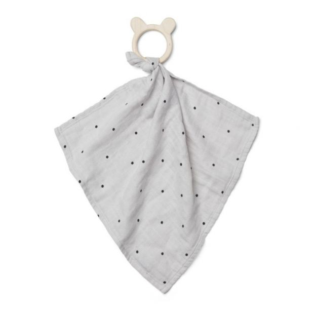 a02fb77442c Wooden teething ring & polka dot organic cotton soft toy Grey