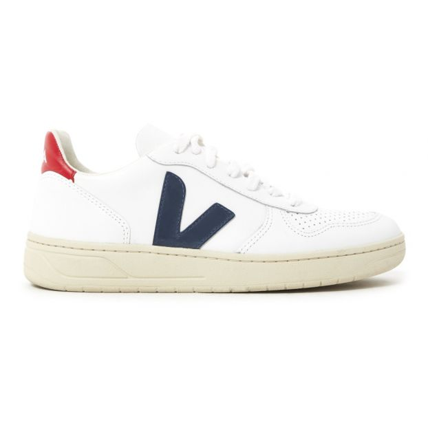 70482b3c155 V-10 Leather Lace-Up Trainers White Veja Shoes Adult