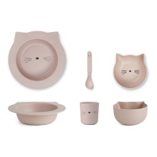 product-Liewood Set vaisselle en Bambou Chat - Set de 4
