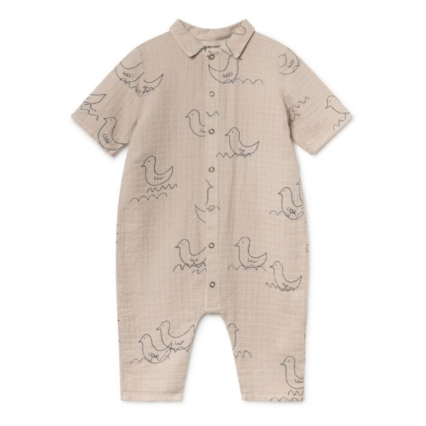 9fb80b637ee5 Bird printed organic cotton romper Sand coloured Bobo Choses