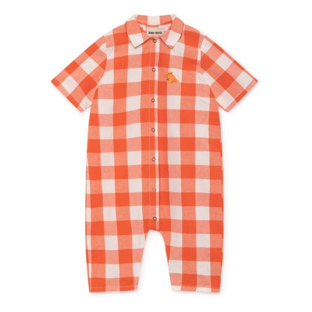 7edfaba389b0 Checkered organic cotton romper Red Bobo Choses Fashion Baby