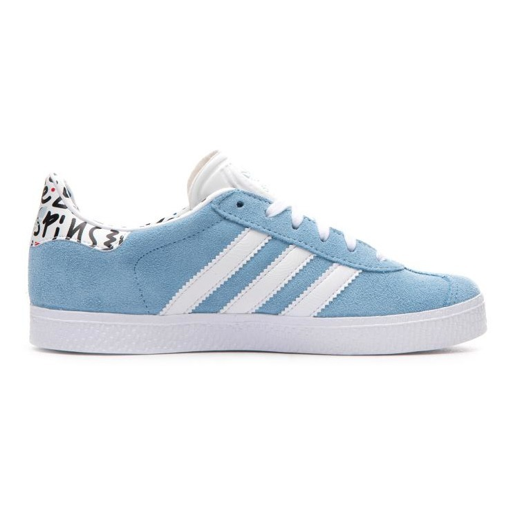92a2b730c9b Gazelle Print Suede Lace-up Trainers Light blue Adidas Shoes Teen. «