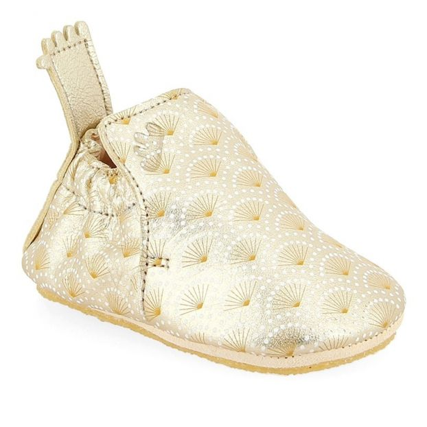 01984891a71085 Blublu Leather Slippers Gold Easy Peasy Shoes Baby