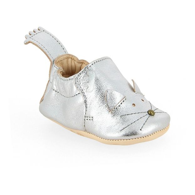 4556a12e554026 Blumoo Leather Slippers Silver Easy Peasy Shoes Baby