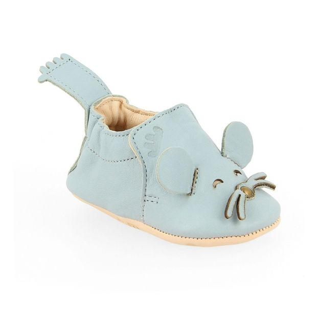 c3edb99e3e578d Blumoo Leather Slippers Grey blue Easy Peasy Shoes Baby