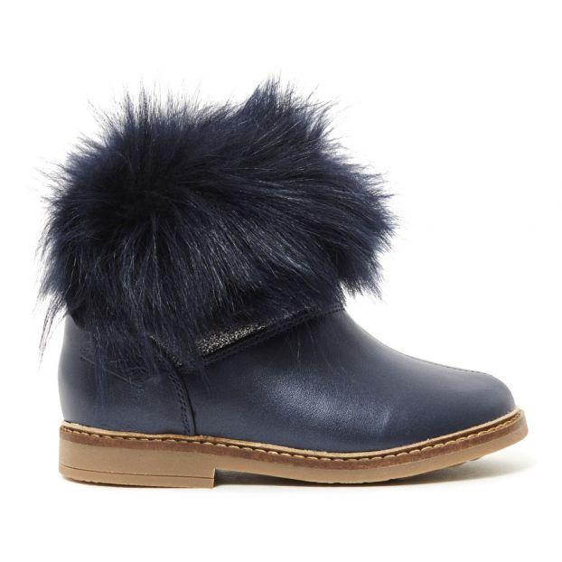 ff6fe3b6505ff Boots Fourrées Retro Chabraque Bleu marine Pom d Api Chaussure
