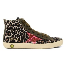 product-Golden Goose Deluxe Brand Francy Leopard Print Zip and Lace-Up Trainers